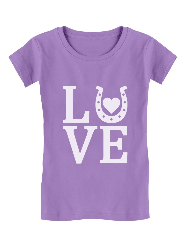 Tstars Love Horses - Gift for Horse Lover Girls' Fitted Kids T-Shirt XL (14/16) Lavender by Tstars (Image #1)