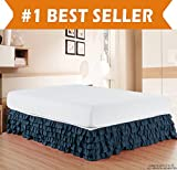 How Long Is a King Size Bed Elegant Comfort Luxurious Premium Quality 1500 Thread Count Wrinkle and Fade Resistant Egyptian Quality Microfiber Multi-Ruffle Bed Skirt - 15inch Drop, King, Navy Blue