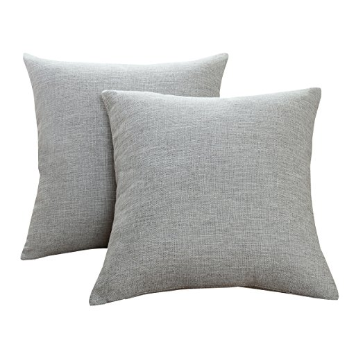 Sunday Praise Cotton-Linen Decorative Throw Pillow Covers,Classical Square Solid Color Pillow Cases,18x18 inches Cushion Covers for Sofa Couch Bed&Car,Pack of 2 (light - Plain Accent