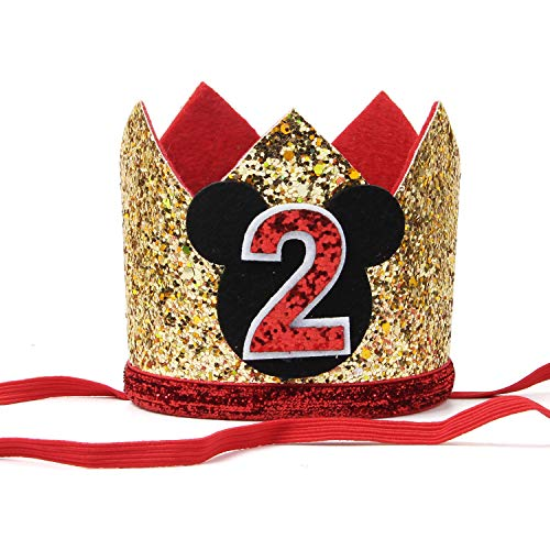 INNORU Baby Boy's Second Birthday Party Hat, 2nd Birthday Gold Glitter Crown Hat, 2nd Birthday Decorations Supplies, Baby Shower Photo Prop (Gold Two)]()