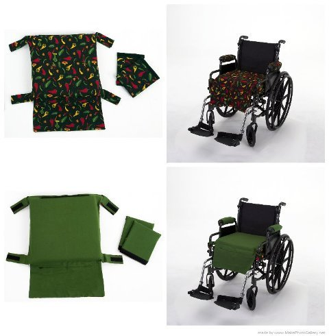 (Wheelchair Solutions WECP024 Wheelie Expressions Black with Chili Pepper Pattern & Green Solid Wheelchair Replacement Cover)