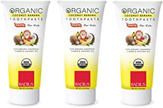 product image for RADIUS USDA Kids Organic Toothpaste - 3 Pack in Coconut Banana, Non Toxic, Designed to Improve Gum Health, For Children 6 Months and Up