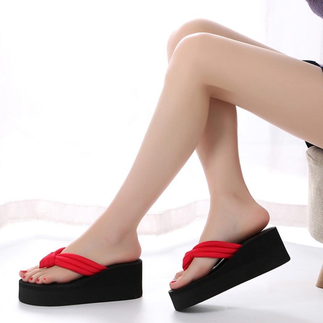 Coromose Womens Summer High Heels Platform Slipper Open-Toe Flip-Flops Beach Sandals Shoes US 7-8.5