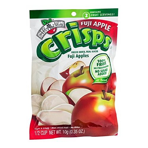 Freeze Fuji Apple Crisps 0.35 Ounce Resealable Bags Inner Pack of 12 by Brothers-ALL-Natural