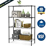 NSF Wire Shelving Unit 4-Tier Height Adjustable Steel Commercial Grade Storage Shelves 36''x14''x54'' Large Heavy Duty Metal Shelves Organizer Rack with Leveling Feet for Kitchen Bathroom Office (Black)