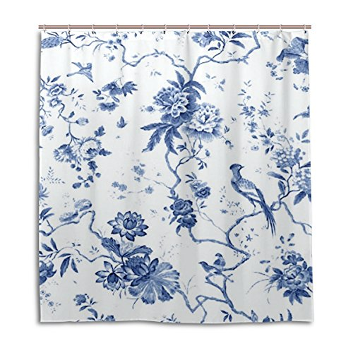 THENAHOME Resistant Anti-Bacterial Waterproof Fabric Bathroom Shower Curtain with Blue And White Toile Pattern 66