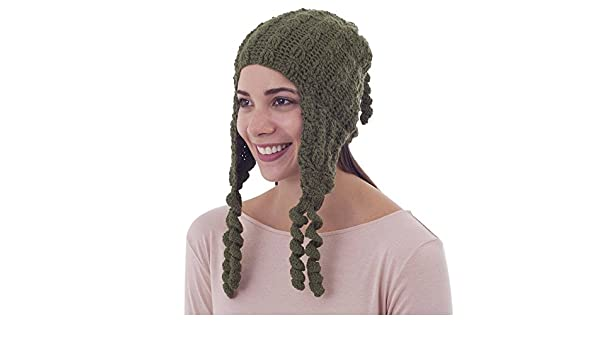 c092a7e10 Amazon.com: NOVICA Green 100% Alpaca Chullo Hat, Evergreen Spirals ...