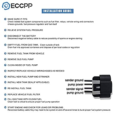 ECCPP Electric Fuel Pump Module Assembly w/Sending Unit Replacement for Infiniti QX56 NissanTitan Armada NV2500 NV3500 2005 2006 2007 2008 2009 2010 2011 2012 2013 2014 V8 4.0L 5.6L E8862M: Automotive
