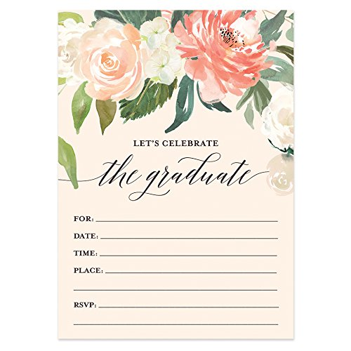 Graduation Party Invitations with Envelopes (Pack of 50) Beautiful Fill-in Floral Grad Party Invites Excellent Value Invitations VI0038 -