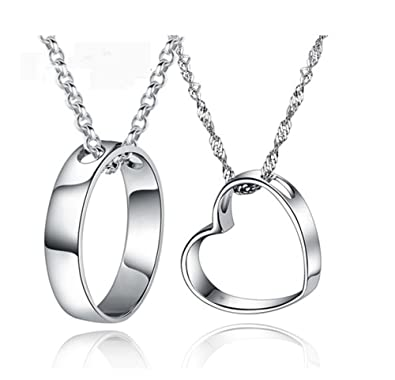 Amazon infinite joy sterling silver couple heart his and hers infinite joy sterling silver couple heart his and hers necklace pendant anniversary valentines gift mozeypictures Image collections
