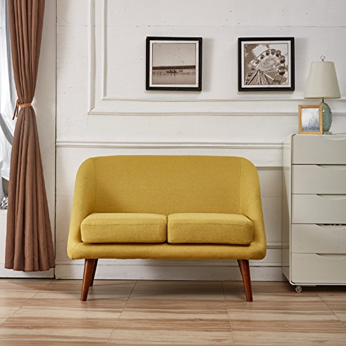 Container Direct Naples Mid-Century Modern Linen Fabric Loveseat, Yellow