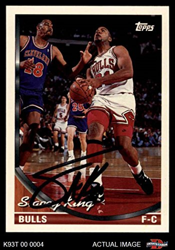 1993 Topps # 128 Stacey King Chicago Bulls (Basketball Card) Dean's Cards AUTOGRAPHED Bulls