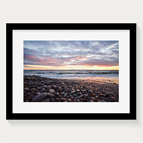 ZhiqianDF Latest Beautiful View Of The Seaside Beach Stones Natural Pebbles Ocean Seascape Sky Sunset View Sea Colorful Framed Wall Art - Eyeglasses Salt Review