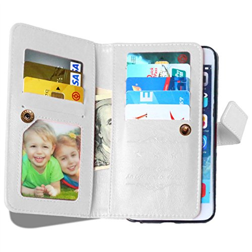 SRY-Bolsa para teléfono móvil IPhone 6S PLUS color sólido patrón cartera estilo caja magnética diseño Flip Folio cuero PU cubierta Standup caso para IPhone 6S PLUS ( Color : Rose , Size : IPhone 6S PL White