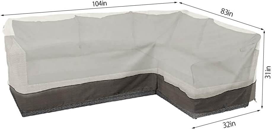 Left Facing BullStar Patio Sectional Furniture Cover Waterproof Outdoor Sofa Cover L-Shaped Garden Couch Protector
