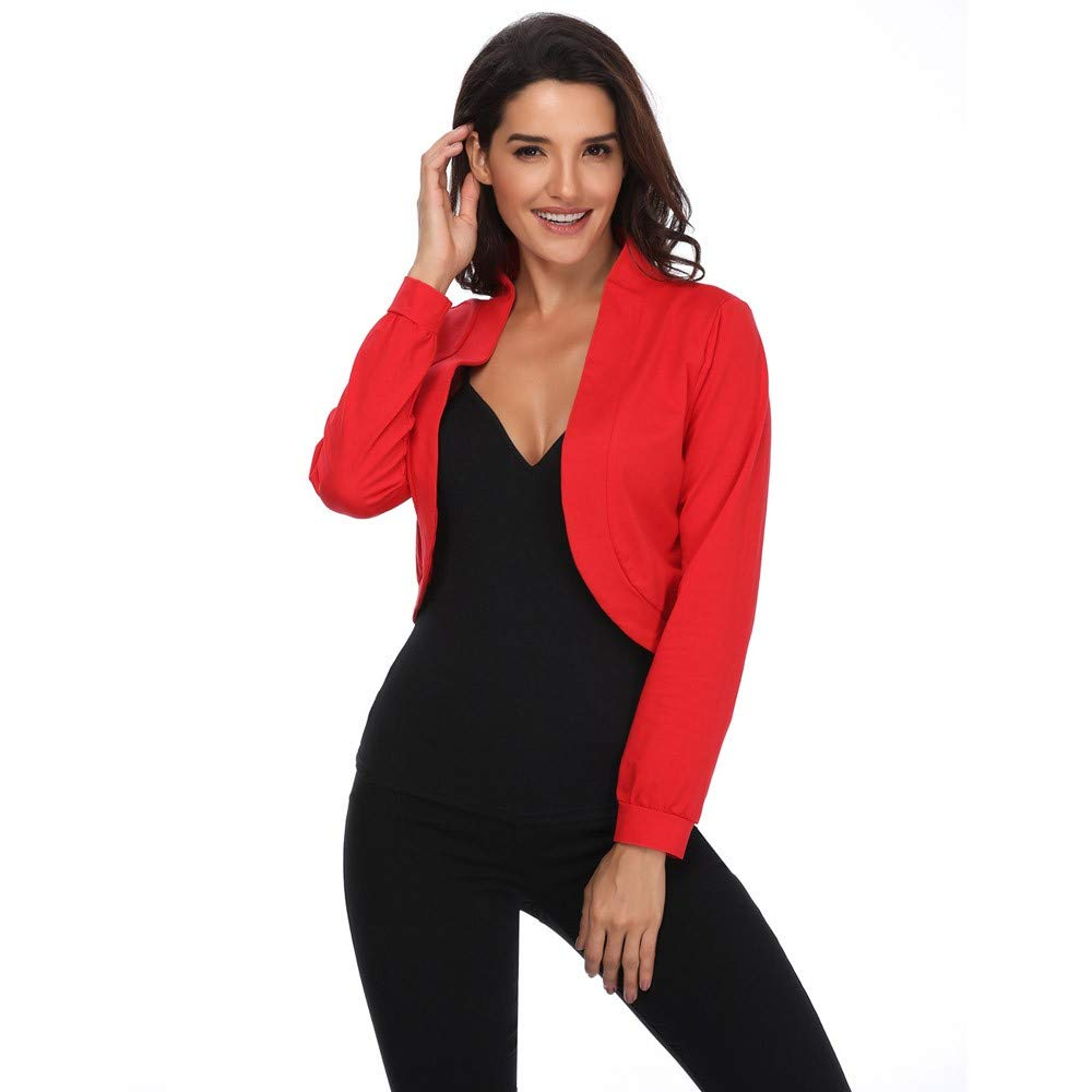 ZEFOTIM Clearance Sale Women Cotton Open Front Cardigan Long Sleeve Cropped Bolero Shrug Blouse Top ZEFOTIMUnderwear NO.1