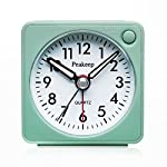 Peakeep Ultra Small, Battery Travel Alarm Clock with Snooze and Light, Silent with No Ticking Analog Quartz (A