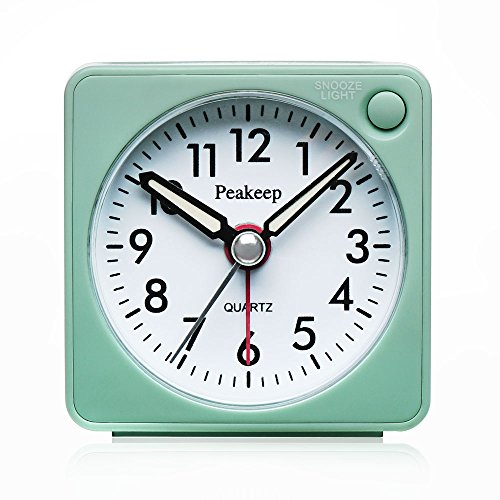 51pkCwssNjL - Ultra Small, Peakeep Battery Travel Alarm Clock with Snooze and Light, Silent with No Ticking Analog Quartz (A