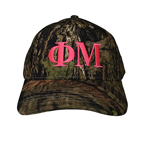Phi Mu Pink Letter Design Woods Mossy Oak Camouflage Hat Cap with Pink Thread Baseball Hat Camo (Beanie Camo Ram Dodge)