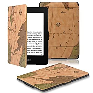OMOTON Kindle Paperwhite Case Cover The Thinnest and Lightest PU Leather Smart Cover for All-New Kindle Paperwhite (Fits All versions: 2012,2013,2014,2015 and 2016 All-new 300 PPI Versions), Brown Map