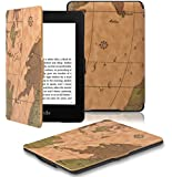 OMOTON® Kindle Paperwhite Case Cover -- The Thinnest and Lightest PU Leather Smart Cover for All-New Kindle Paperwhite (Fits All versions: 2012, 2013 and 2015 All-new 300 PPI Versions), Brown Map