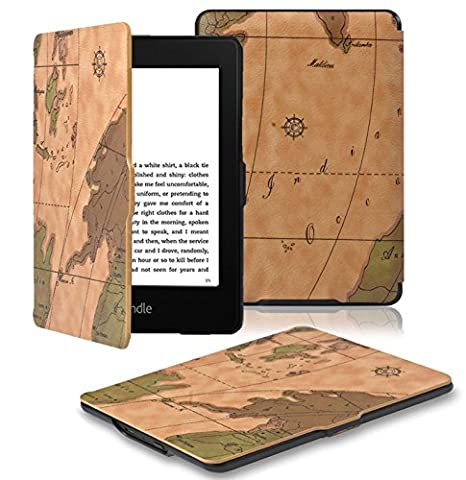 OMOTON Kindle Paperwhite Case Cover - The Thinnest and Lightest PU Leather Smart Cover for All-New Kindle Paperwhite (Fits All versions: 2012, 2013 and 2015 All-new 300 PPI Versions), Brown (Waterproof Kindle Voyage Case)