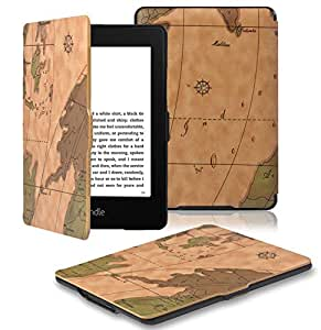 OMOTON Kindle Paperwhite Case Cover - The Thinnest and Lightest PU Leather Smart Cover for All-New Kindle Paperwhite (Fits All versions: 2012, 2013 and 2015 All-new 300 PPI Versions), Brown Map