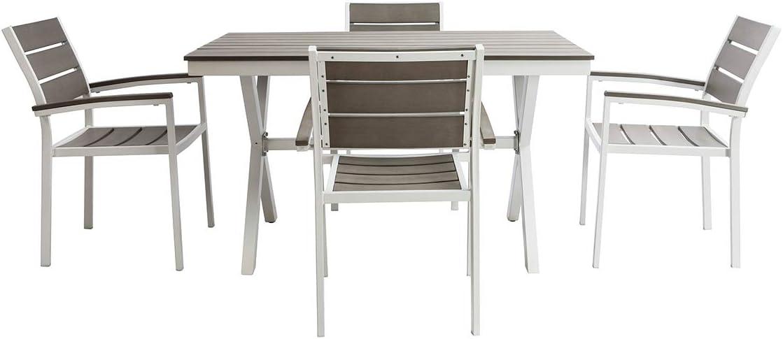 Miliboo Salon de Jardin avec Table et 4 chaises Noir et Bois Viaggio