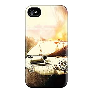Perfect Hard Phone Cover For Apple Iphone 4/4s With Customized Attractive World Of Tanks Hd Pictures CharlesPoirier