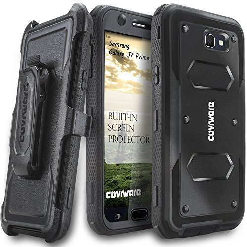Samsung Galaxy J7 Prime/J7 Sky Pro/J7 Perx/J7 V 2017/J7 2017 Case, COVRWARE [Aegis Series] w/Built-in [Screen Protector] Heavy Duty Full-Body Rugged Holster Armor Cover [Belt Clip][Kickstand], Black by COVRWARE