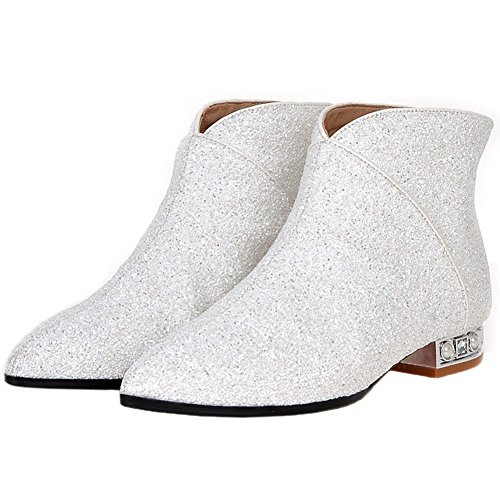 White Bling Boots Pointed Sequins Women Heel Toe Yiuoer Boots Ankle Zipper Royou Chelsea q7wZxPT