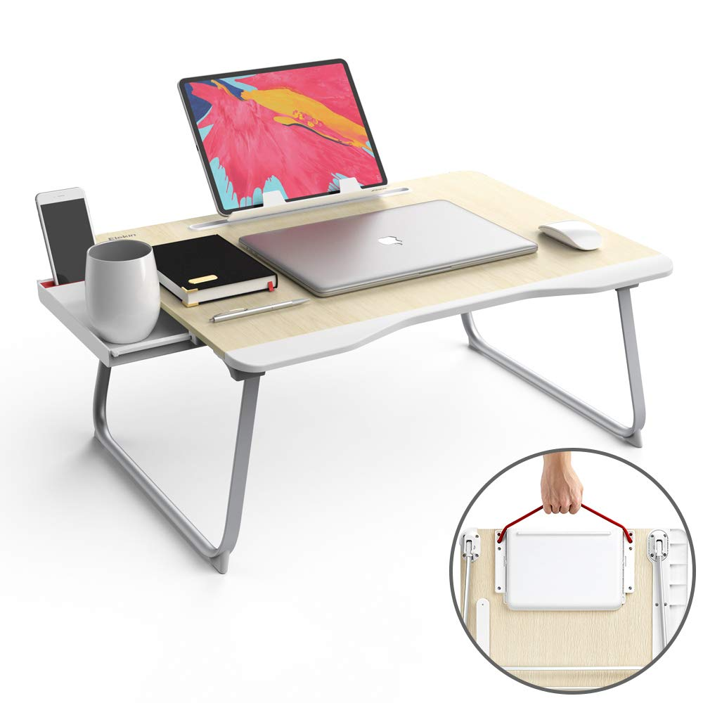 Folding Laptop Desk Multi-Function Elekin Laptop Bed Table with Storage Drawer Phone Stand Cup Holder for Bed Sofa (25.6''x19.3''x11.8'') by Elekin