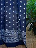 Cheap Starry Nights (CP) ~ Indian Blue Batik Cotton Curtain Panel 46×63