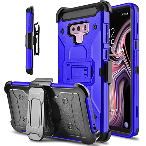 lovpec Hard Galaxy Note 9 Case, Kickstand Heavy Duty Protection Swivel Belt Clip Holster Full Body Protective Shockproof Phone Case Cover Compatible with Samsung Galaxy Note 9 / SM-N960U (Blue)
