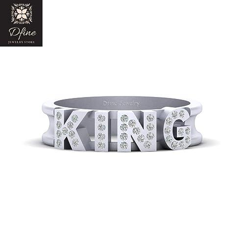 Amazon Com Solid 14k White Gold Simulated Diamond King Band Royal