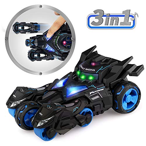Baztoy Pull Back Vehicles 3 in 1 High Speed 1:32 Scale Racing Model Car Black Catapult Motorcycles Toys with Eject Button LED Light and Sound Gifts for Boys Girls Kids and Toddlers Indoor Outdoor