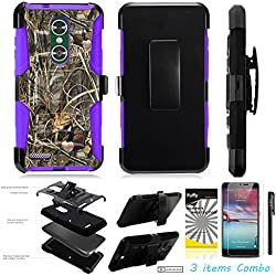 For ZTE BLADE X MAX Z983 /3Items [Clear LCD Film]+Stylus Pen+[Impact Resistance] Dual Layer [Belt Clip] Holster Combo [KickStand] Phone Case Camouflage Duck - Purple