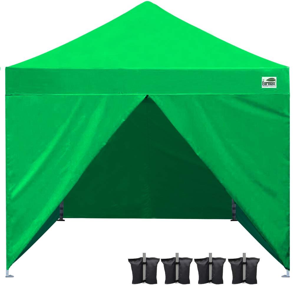Eurmax 10x10 EZ Pop up Canopy Tent, Fair Gazebo, Commercial Portable Market Canopy Full Walls Carry Bag, Bonus Canopy Sand Weights