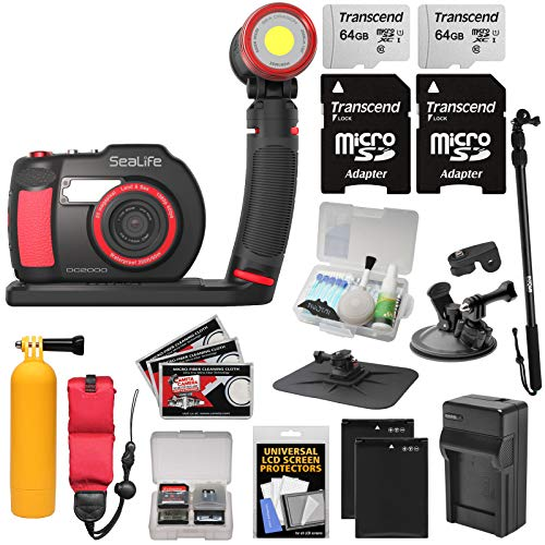 (SeaLife DC2000 HD Underwater Digital Camera with Sea Dragon 2500 LED Light Set + 2 64GB Cards + Batteries & Charger + Monopod + Suction Cup + Buoy Kit)