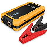 iClever 600amp 15000mAh Peak Jump Starter (up to 6.0L Gas or 4.0L Diesel Engine) Car Battery Booster with Multiple Protected Smart Clamp, 100 Lumen LED Flash Light, Yellow