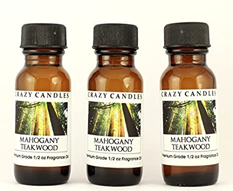 Crazy Candles Mahogany Teakwood Made In Usa 3 Bottles 1 2 Fl Oz Each 15ml Premium Grade Scented Fragrance Oil Blend Of Mahogany Cedarwood And
