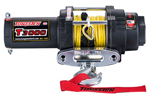 Tungsten4x4 T3000S 1.4 HP ATV/UTV Electric Utility Winch with Hawse Fairlead and Synthetic Rope, 3000 lbs Capacity