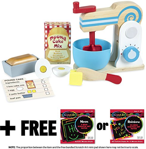 (Make-A-Cake Mixer Set: Wooden Play Food Set + FREE Melissa & Doug Scratch Art Mini-Pad Bundle (98403))
