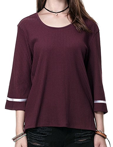Regna X Boho for Woman Scoop Neck Oversize Casual Wine red Burgandy Extra Large 3 4 Bell Sleeve Striped Ribbed Sweater Knit Tops