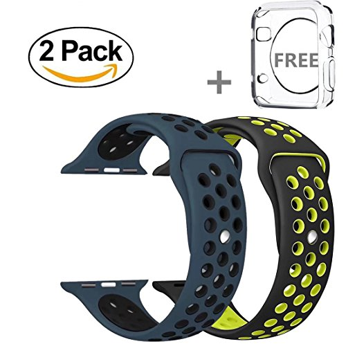 Apple Watch Band 42mm, YooTek Soft Silicone Replacement Band with Quick Release for Apple Watch 3/2/1/Edition, 2 Pack with free iWatch screen Protector (Blue/Black + Volt (Edition Two Pack)