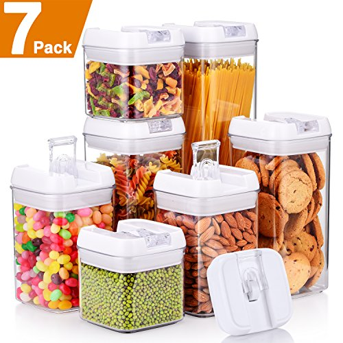 """Senbowe [7-Piece] Air-Tight Food Storage Container Set with Durable Plastic,BPA Free,Clear Containers,Stackable Design, for Organizing Kitchen Space - Upgrade White Lids (3.8×3.8"""")"""