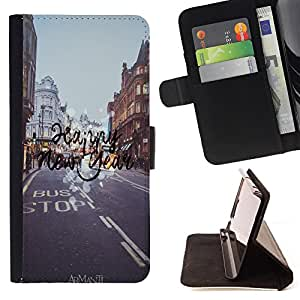 King Case - FOR Sony Xperia Z2 D6502 - ?try hard to forget - Prima caja de la PU billetera de cuero con ranuras para tarjetas, efectivo Compartimiento desmontable y correa para la mu?eca