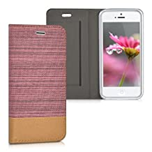 kwmobile Flip Cover Case for Apple iPhone SE / 5 / 5S - Protection case Cover Bookstyle made of synthetic leather and fabric in antique pink brown