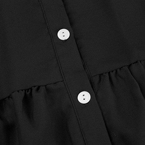 Femmes Fluide Noir Manche Chic Tunique Taille 3 Chemisier Soie Grande Kingwo de Chemise Mousseline 4 Hq1dxn16w7