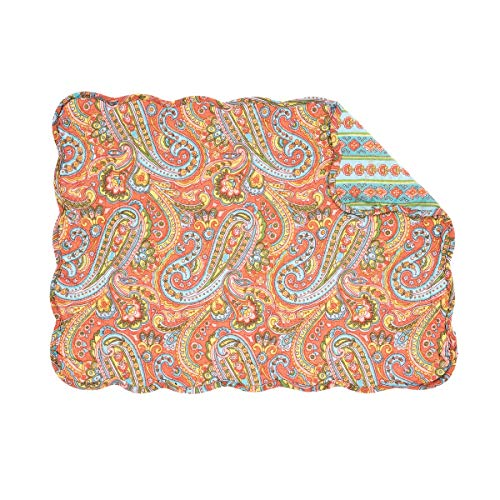 C&F Home Miley Orange Blue Paisley Place Mats Rectangular Cotton Quilted Reversible Washable Placemat Set of 6 Rectangular Placemat Set of 6 Miley Orange